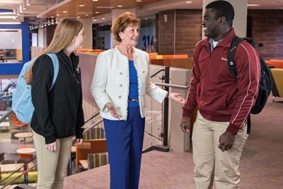 Jacquie Moloney with students