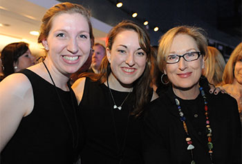 UMass Lowell students Janice Lane and Maddie Koufogazos met with Meryl Streep, prior to her sell-out appearance at the Tsongas Center.