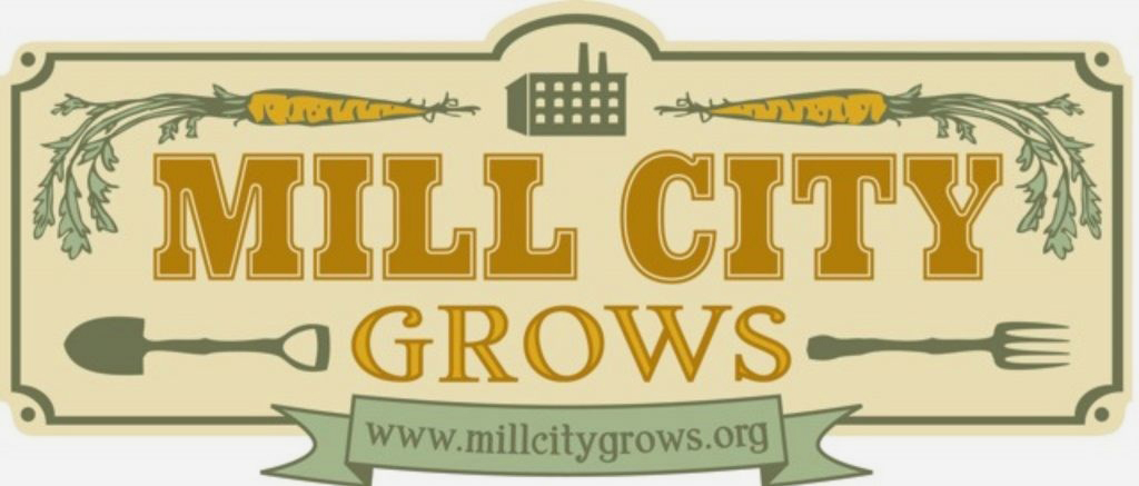 Mill City Grows logo. Mill City Grows (MCG) improves physical health, economic independence and environmental sustainability in Lowell through increased access to land, locally-grown food and education.