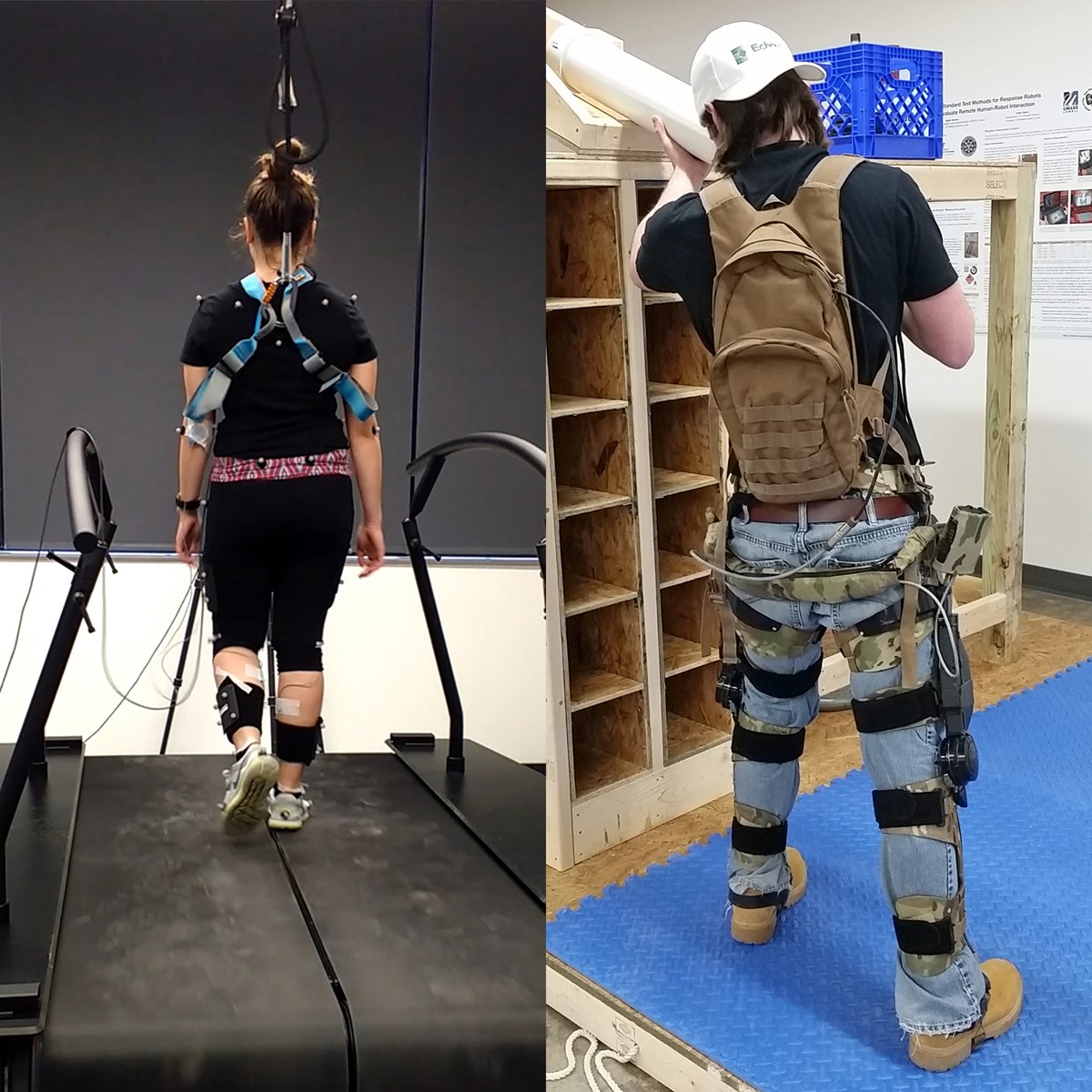 Person on treadmill with motion capture (left) and person wearing exoskeleton lifting munitions test artifact (right)