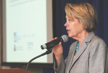 "U.S. Rep. Niki Tsongas speaks Tuesday during a nanotechnology forum at the UMass Lowell Inn and Conference Center. She said she expects the field to bring forth ""a wide array of innovative game-changers in the years ahead."""