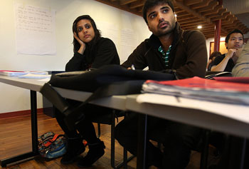 Titiksha Fernandes and Siddharth Sharma were recruited by UMass Lowell through a private Australian company.
