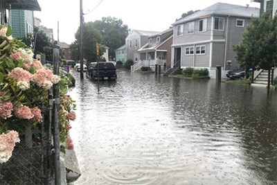 Flooded street in Medford, Mass.