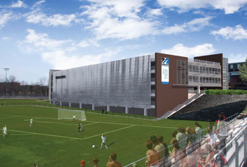 This artist's rendering of the North Campus Parking Garage currently under construction shows the east façade facing the athletic fields.
