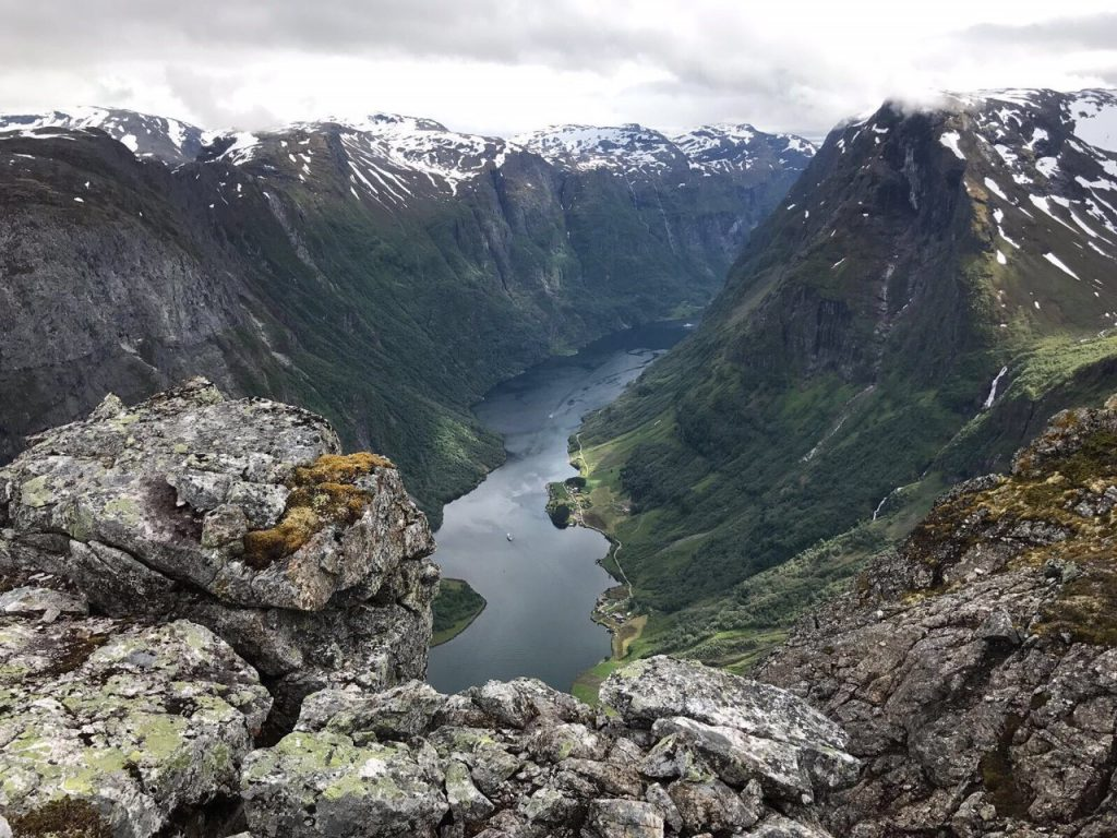A Norwegian Fford as seen from above. UNESCO World Heritage site Nærøyfjorden (narrow fjord).  The hike was especially difficult but the view of the fjord from 3,700 feet up was magnificent.