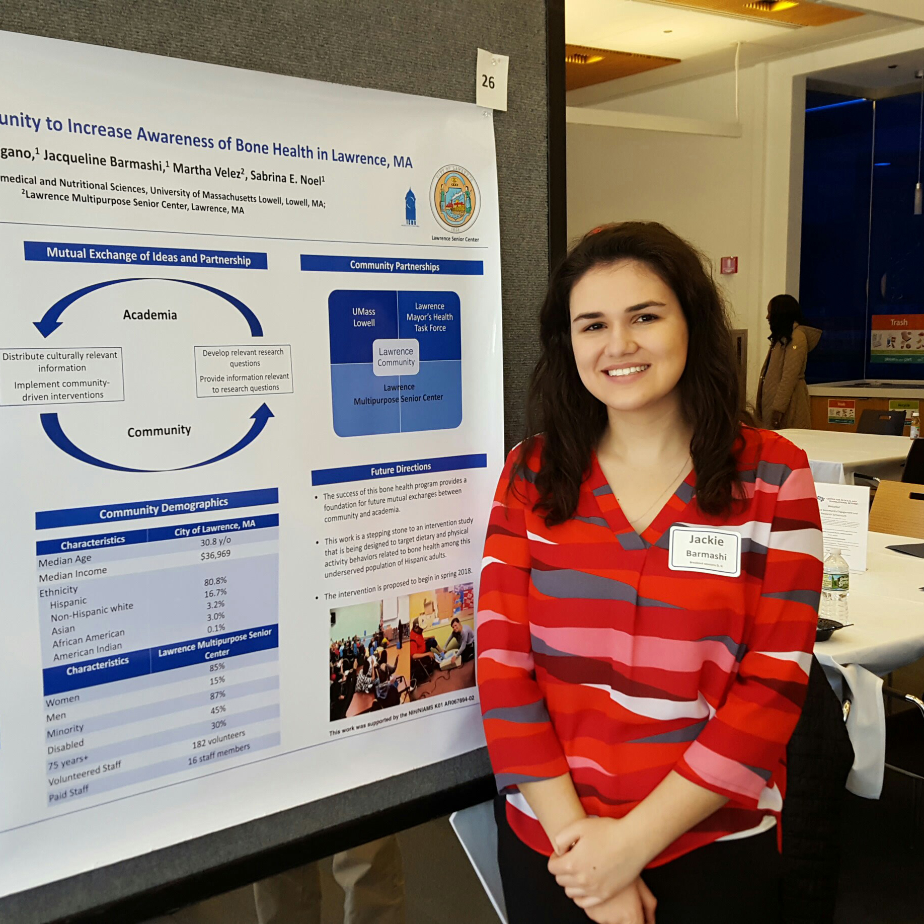 a female student presenting her nutritional science project