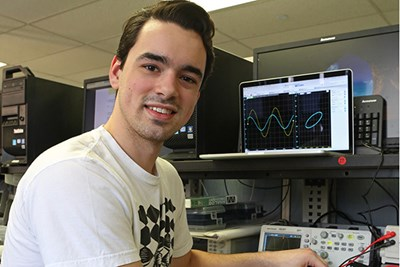 Electrical Engineering student Michael Nuzzo in lab