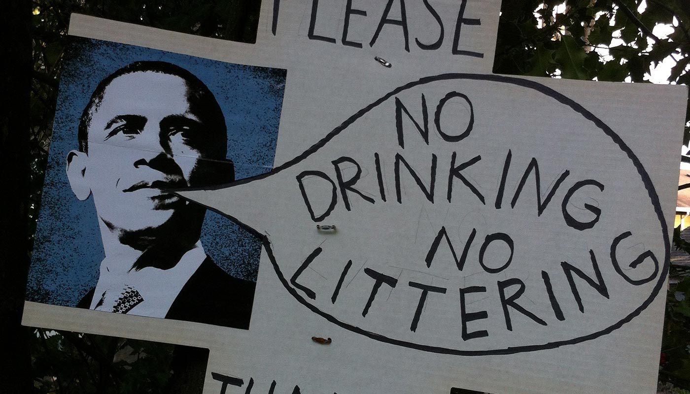 Obama no littering sign