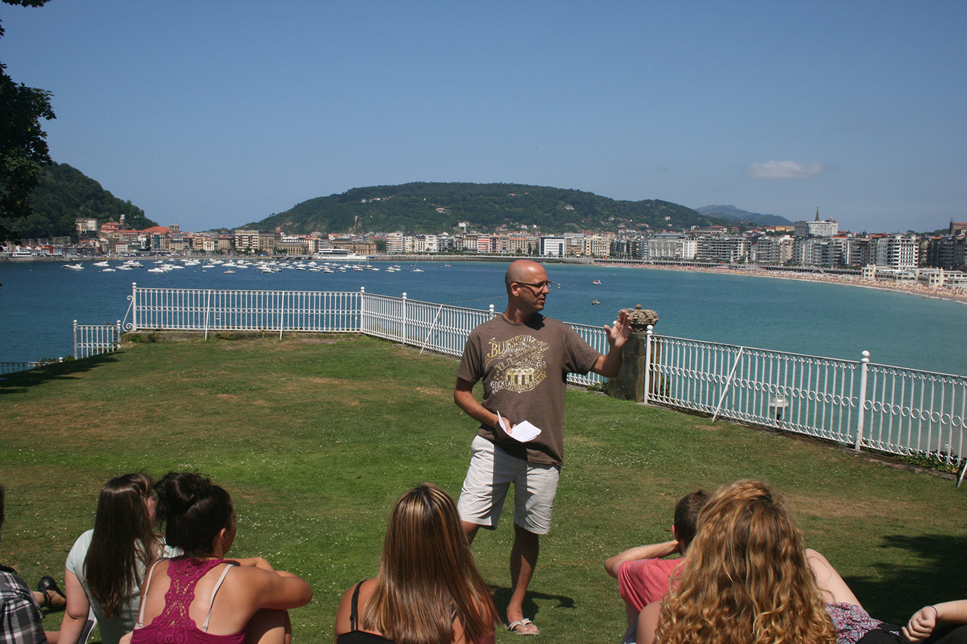 Outdoor classroom during Study Abroad trip to San Sebastian, Spain.