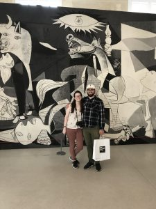 Brooke Parziale with another student in front of Picasso's Guernica