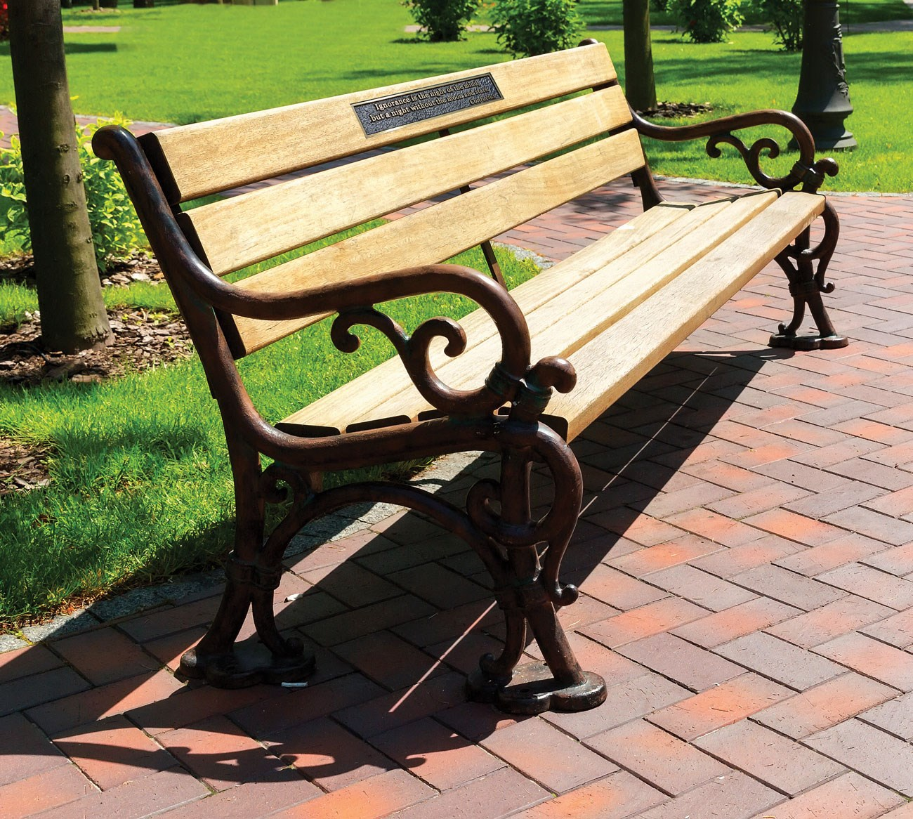 Bench affixed with notable quote