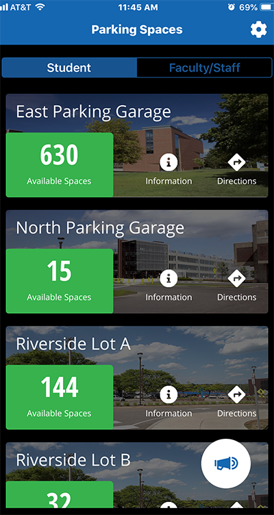 screenshot from Parking Spaces app