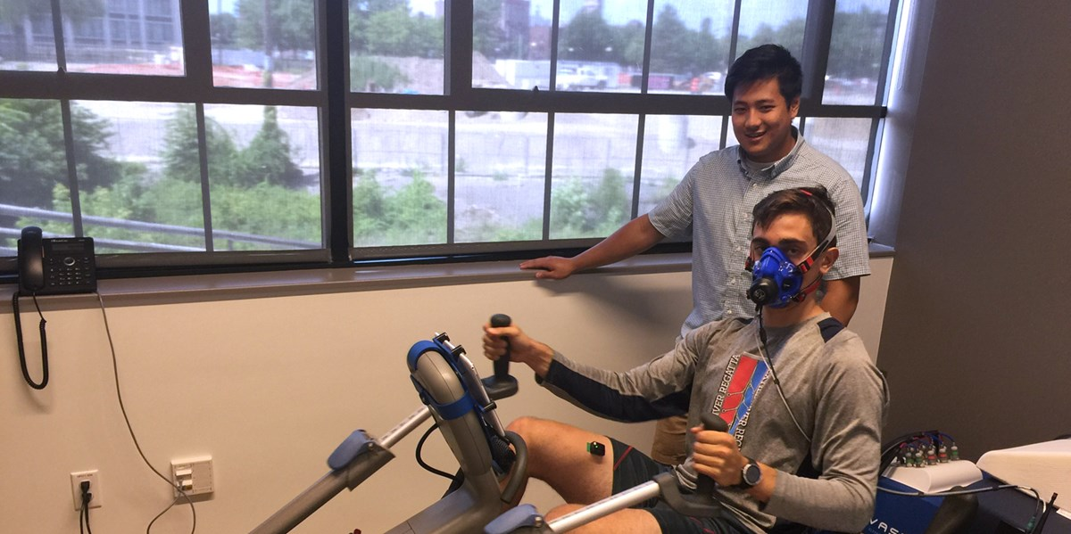 Exercise Physiology major Patrick Pang does research at The New England Robotics Validation and Experimentation (NERVE) Center at the University of Massachusetts Lowell