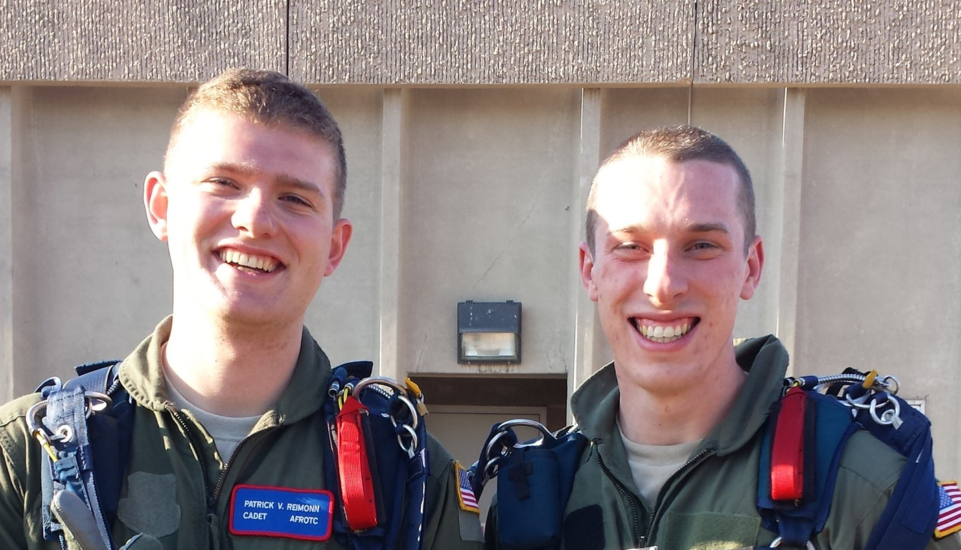 Patrick Reimonn poses in uniform with another Air Force ROTC student