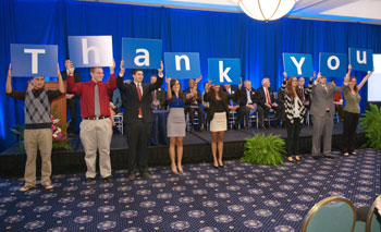 "Students give a rousing ""thank you"" to donors at the recent Celebration of Philanthropy."