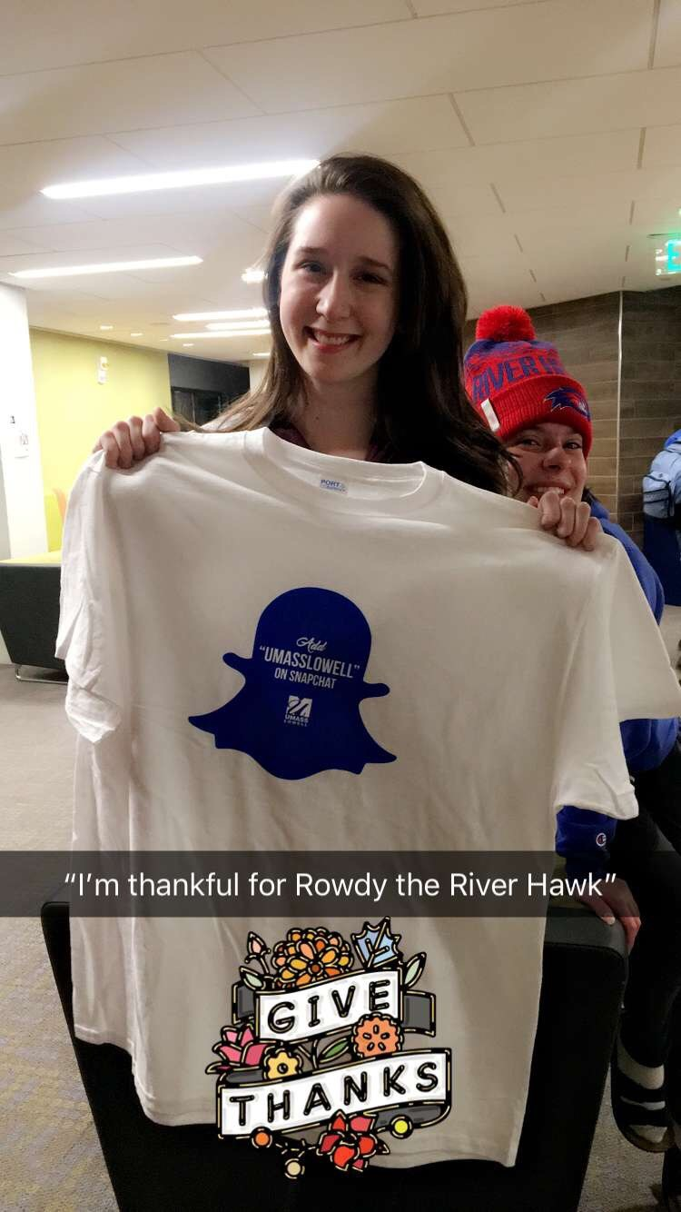 "UMass Lowell student holding Snapchat t-shirt is ""thankful for Rowdy the Riverhawk"""