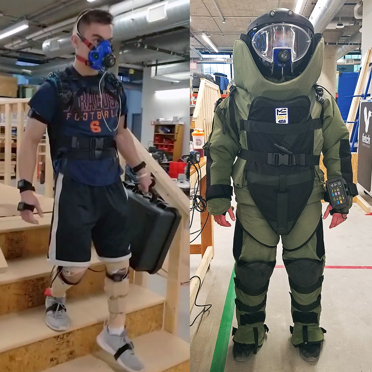 Person wearing biometrics sensors (left) and person wearing biometric sensors underneath an EOD suit (right)