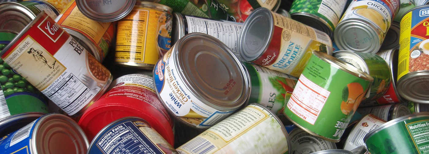 A pile on canned food.