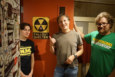 From left, current WUML station maganer Chris Romano,