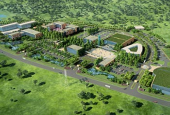 An aerial representation of the proposed PlastIndia International University, to be based in Vapi, India.