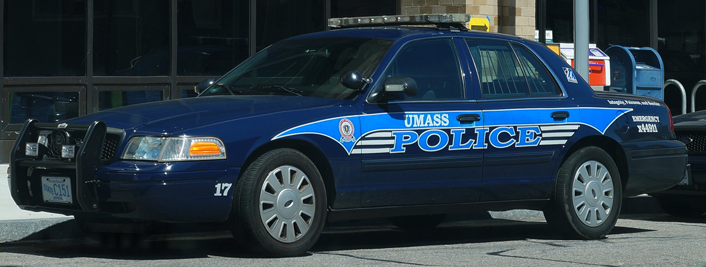 Umass Lowell Police cruiser parked.
