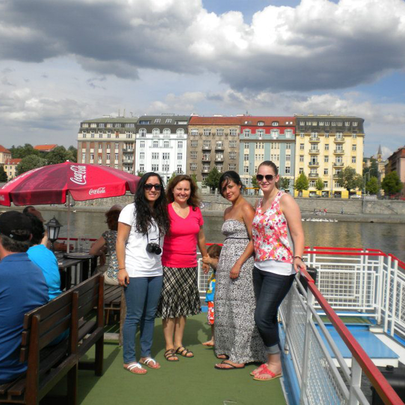 UMass Lowell Professor Sladkova and students on the Vltava River, Prague, Czech Republic