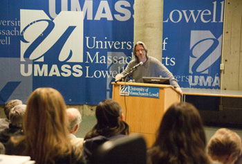 """Your voice makes a difference,"" John Prendergast told students at the Day Without Violence. He is UMass Lowell's 2012 Greeley Peace Scholar."