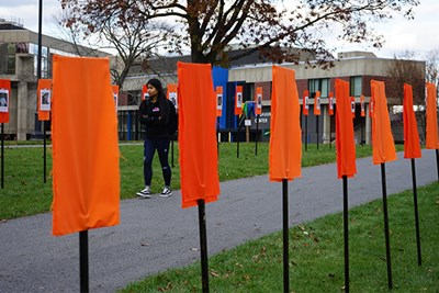 Memorial tributes lined the walkway on South Campus as tribute to those slain in Las Vegas Oct. 1