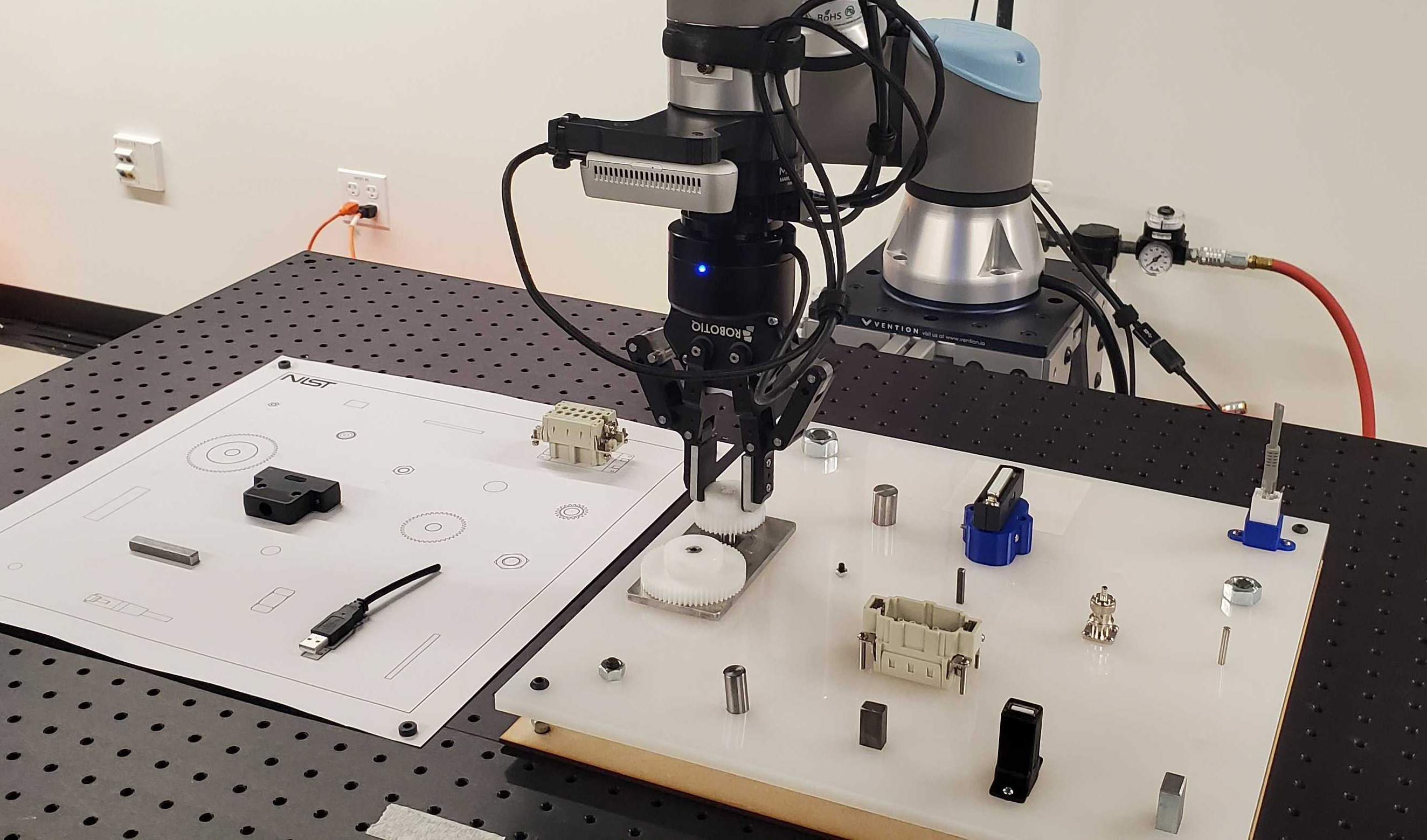 Robot manipulating a gear on the NIST-ATB #1