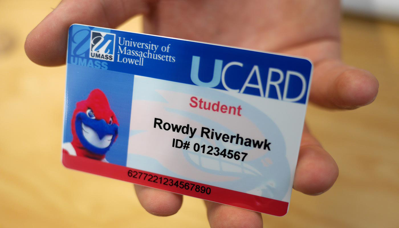 A mock student ID for UMass Lowell mascot, Rowdy the River Hawk.