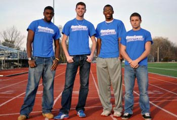 UMass Lowell 4x400 runners, from left, Craig Bennett, Ryad Bencheikh, Evan White, and Jeff Wundt.