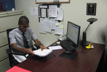 Ruben Sanca in his office/Bill Littlefield photo