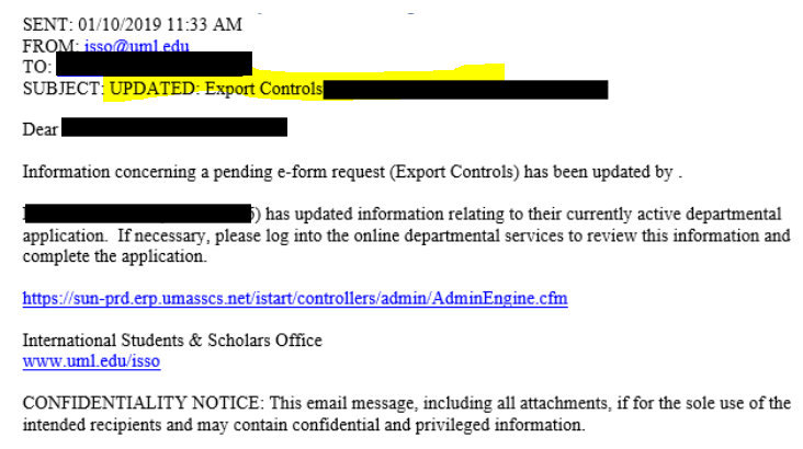 "screenshot of email that will be received once Tom Porro approves the export controls; the subject line begins with ""UPDATED: Export Controls"""
