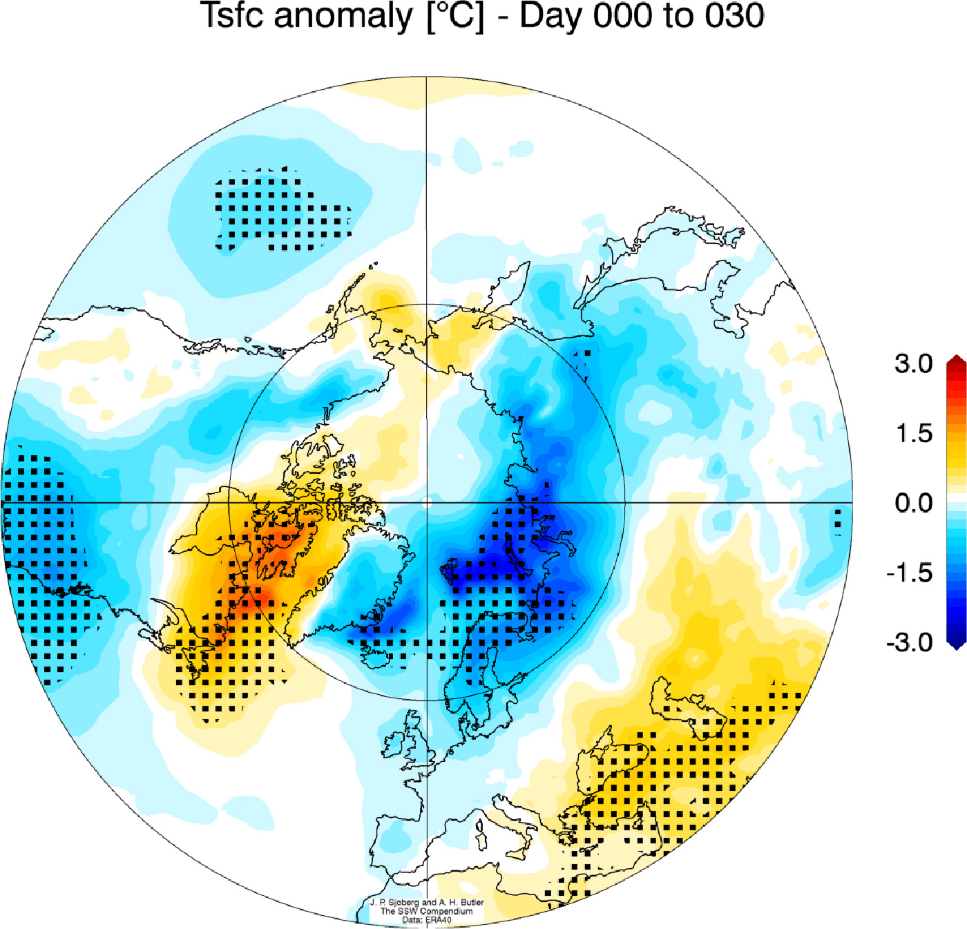 screenshot of a simulated earth and atmospheric model demonstrating polar vortex experienced by North America Winter 2018.