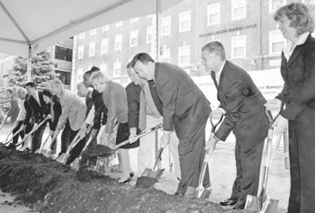 UMass Lowell groundbreaking of Pulichino Tong Business Building/Lowell Sun photo by Bob Whitaker