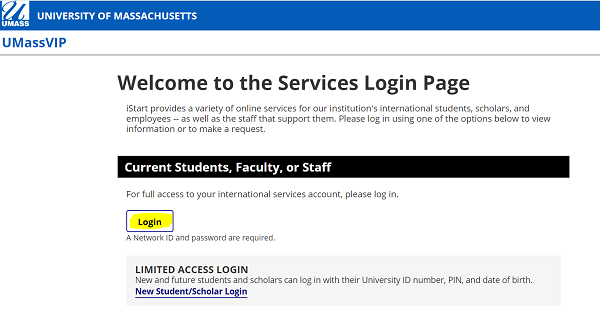 screenshot of UMassVIP services login page, with Login button highlighted