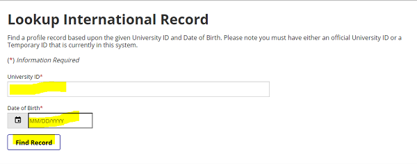 "screenshot of page to lookup international record, with fields for university ID number, DOB, and ""find record"" button highlighted"