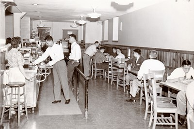 The Smith Hall dining hall in the '50's