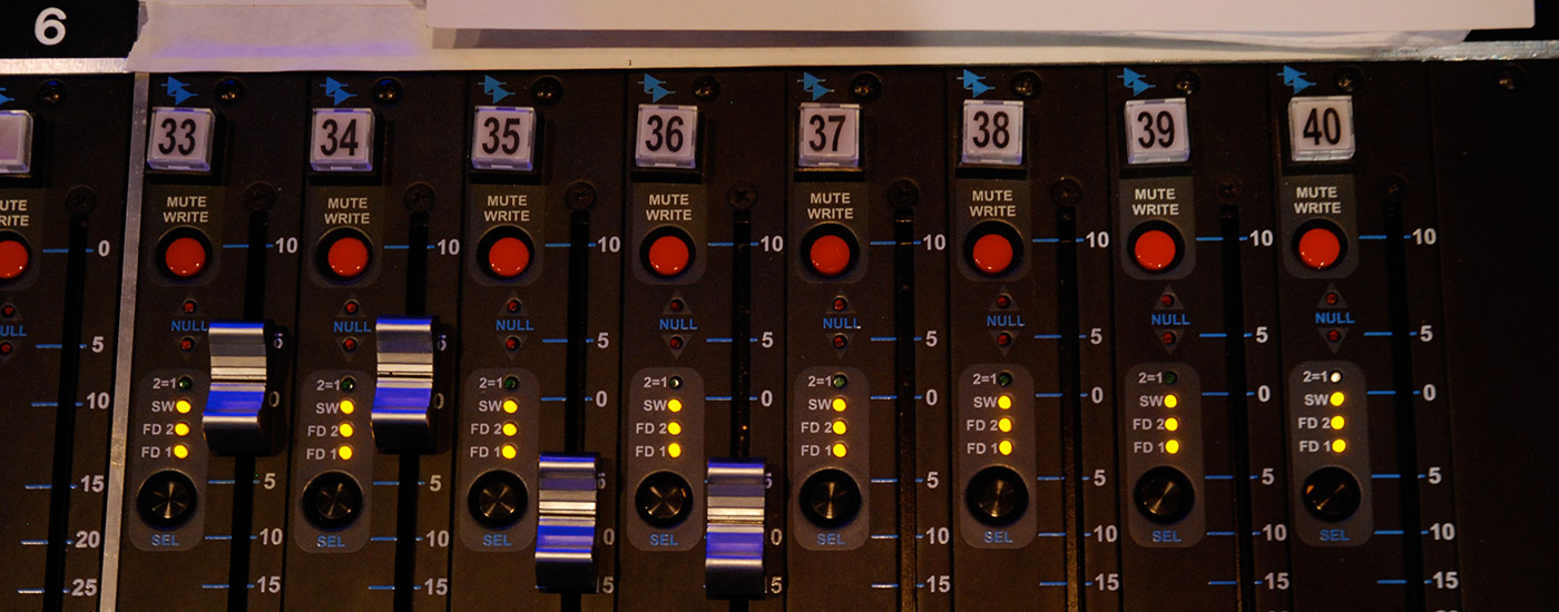 A soundboard in a studio of the Sound Recording Technology program.