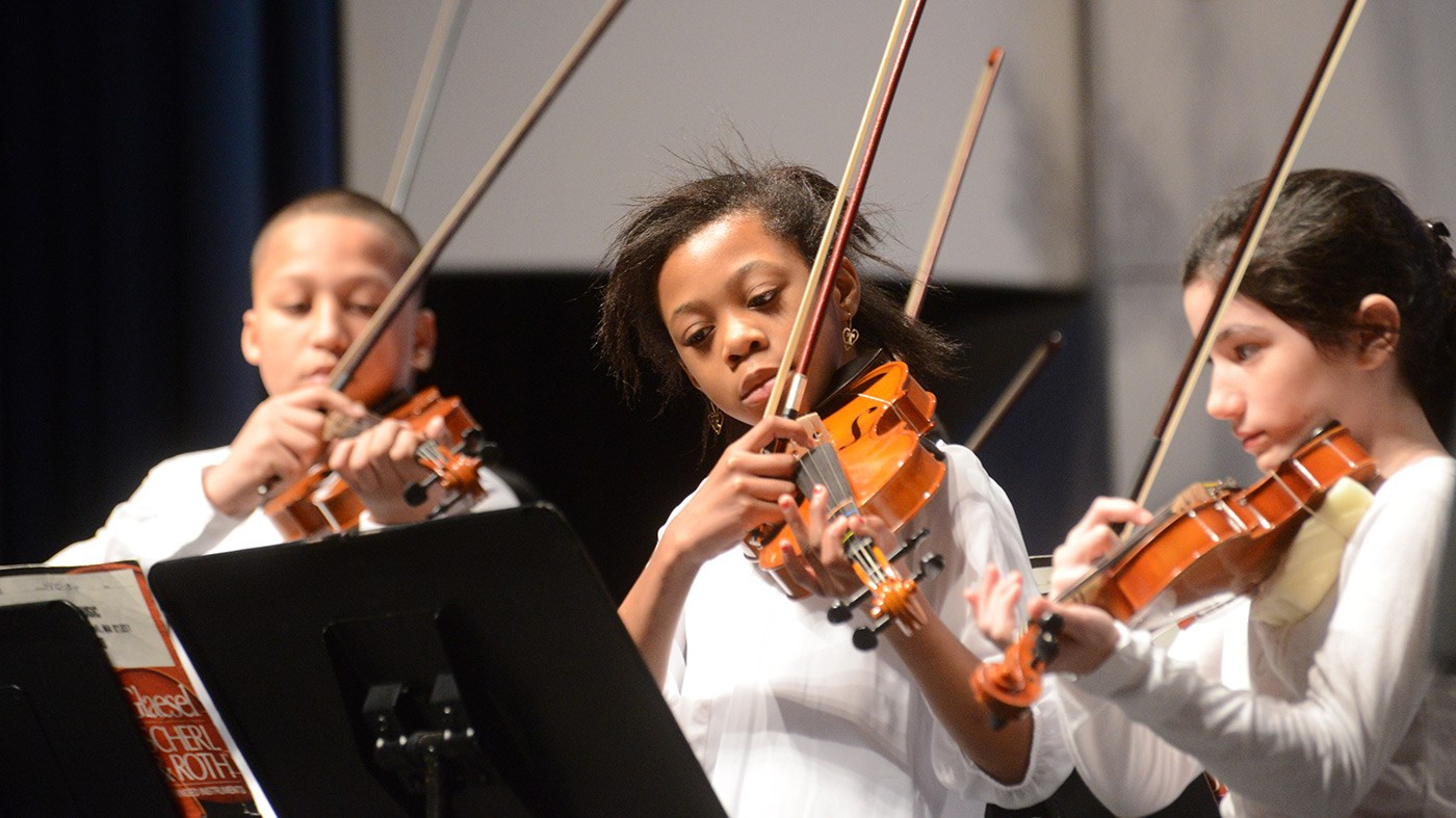 Young musicians perform at the String Project Winter Holiday Concert