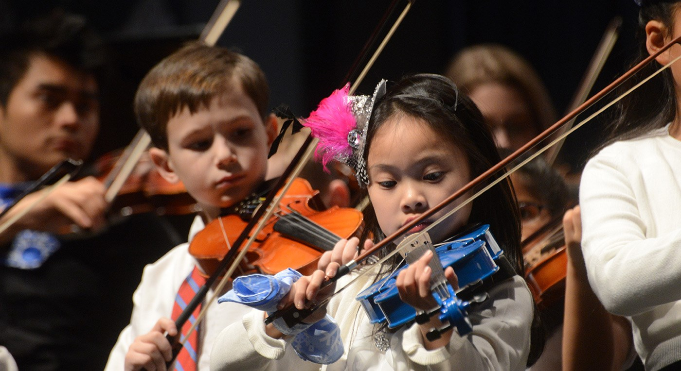 Young musicians perform at the String Project Winter Holiday Concert.