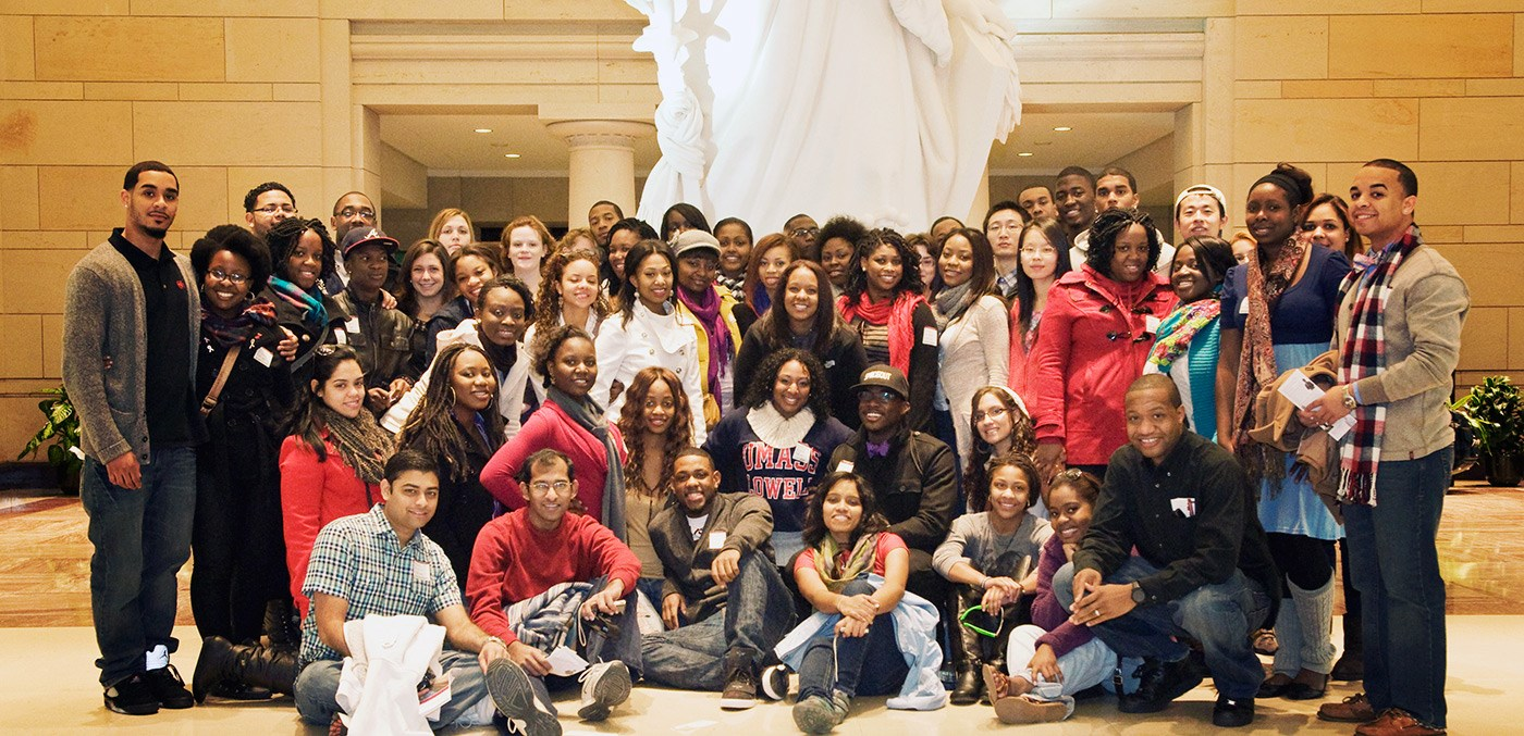 Students and staff pose for a group photo on a Multicultural Affairs trip to Washington D.C. in Fall 2011