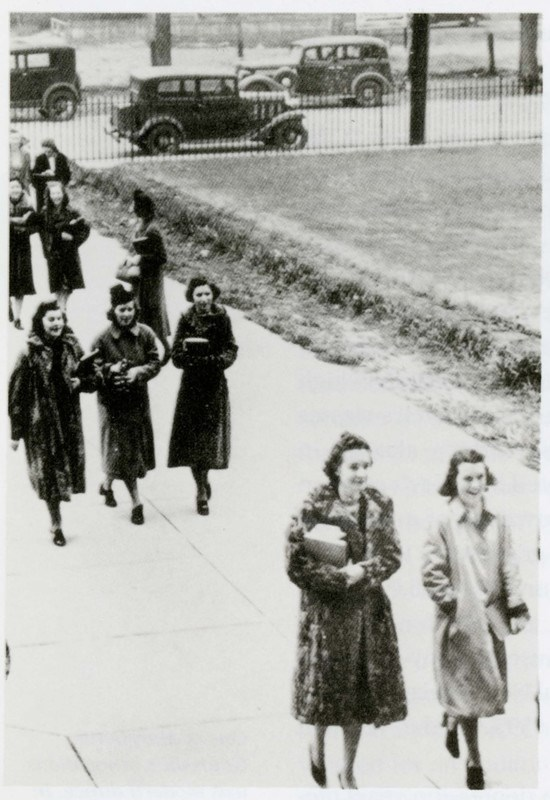 On a brisk day in 1939, students from the Teachers College hurried to their classes