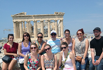 UMass Lowell students and faculty touring the Acropolis in Athens, Greece.