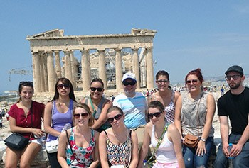 UMass Lowell students studying in Greece in the summer of 2014.