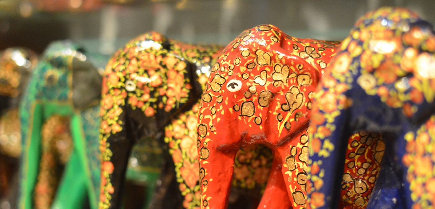 Elephant statues in India from a UMass Lowell Study Abroad trip.