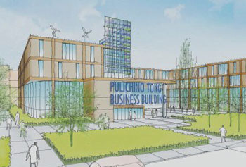 An artist's rendering of UMass Lowell's $35 million Pulichino Tong Business Building, which will house the Robert J. Manning School of Business.