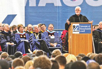 Keynote speaker Robert Egger addresses the crowd during UMass Lowell's Convocation Tuesday.
