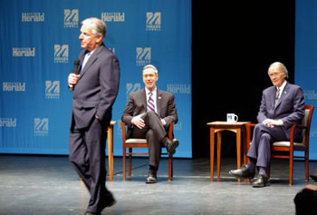 UMass Lowell Chancellor Marty Meehan introduces Democratic candidates for U.S. Senate Stephen Lynch, at rear left, and Edward Markey before Monday's debate at Durgin Hall.