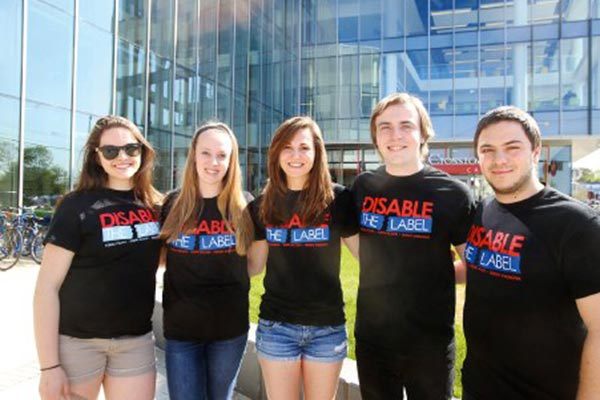 Board members of Disable the Label, a student club at UMass Lowell dedicated to ending stigmatizing language, from left: Mackenzie Carr of Tewksbury, Alyssa Mulno of Tewksbury, Brenna Stewart of Westboro, Zachary Zuber of Haverhill and John Romano of Wilmington.